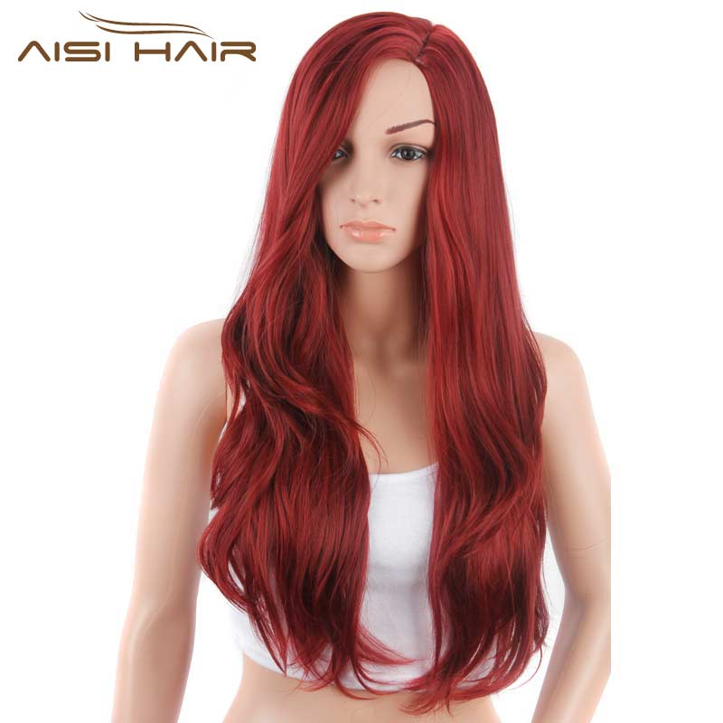 I s a wig Synthetic Red Wigs Long Wavy Hair for Black Women