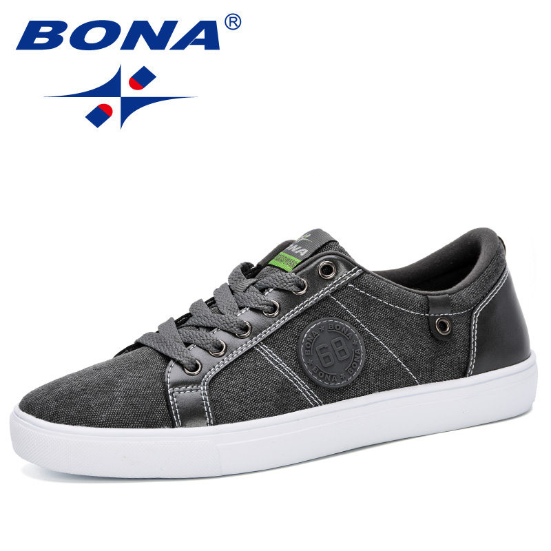 BONA 2019 New Classics Style Men Skateborading Shoes Canvas Outdoor Jogging Shoes Man Comfortable Breathable Flat Shoes Men