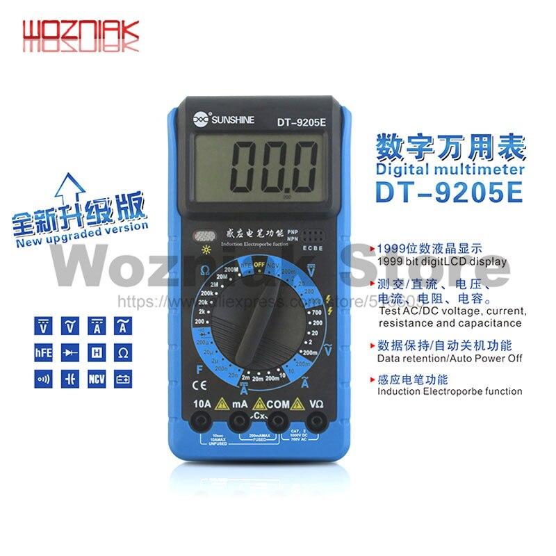 Aletler'ten Elektrikli Alet Setleri'de Dijital multimetre lcd ekran otomatik güç kapalı değişen AC/DC gerilim akım indüksiyon Elextroprobe veri güneş title=