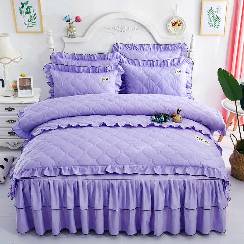 Top quality Sanding quilted Bedskirt Pillowcase Duvet Cover Set Queeen King Full Size Princess Cotton Bedding SetsTop quality Sanding quilted Bedskirt Pillowcase Duvet Cover Set Queeen King Full Size Princess Cotton Bedding Sets