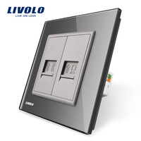 Manufacture Livolo Grey Crystal Glass Panel 2 Gangs Wall Tel And Com Socket Outlet VL C791TC