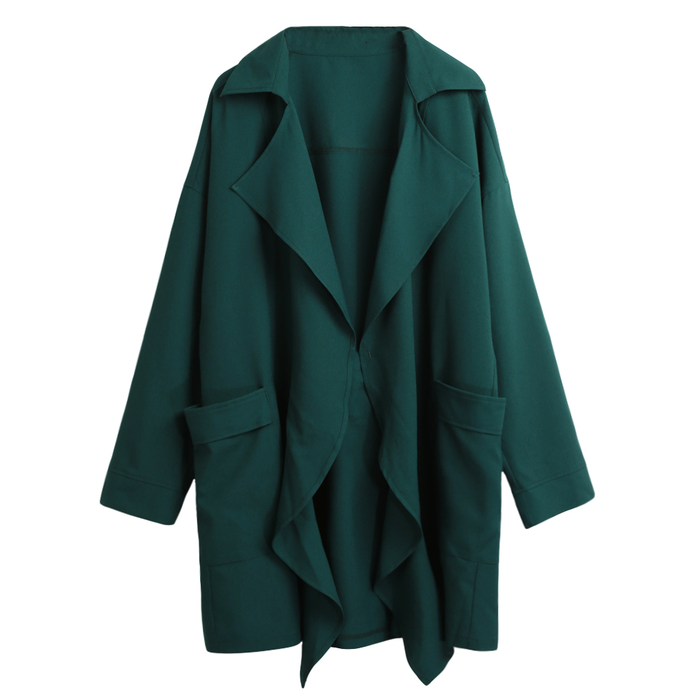 2019 Autumn Women Trench Coat Pocket Long Sleeve Casual Cardigan Loose Outerwear Casual Fashion 5XL Plus Size Long Windbreaker
