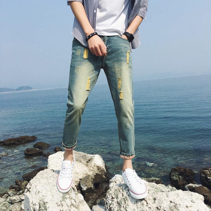 2018 Black Ripped Biker Jeans Men Holes Denim Super Skinny Famous Designer Trousers Brand Slim Fit Ankle-Length Pants 36 34