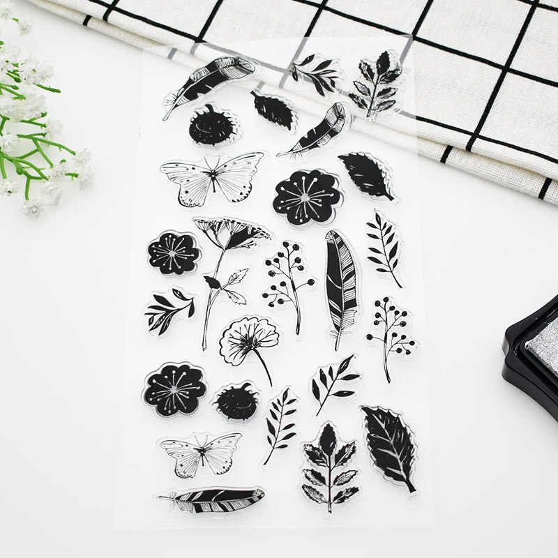 25 pcs/sheet Flower Butterfly Leaves Silicone Clear Stamps Crafts Rubber Clear Stamps For Scrapbooking Paper  688