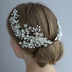 Image 2 - Роскошный хрустальный свадебный головной убор заколки для волос лоза Стразы Цветочные Свадебные аксессуары для волос украшения для волос невесты 2019