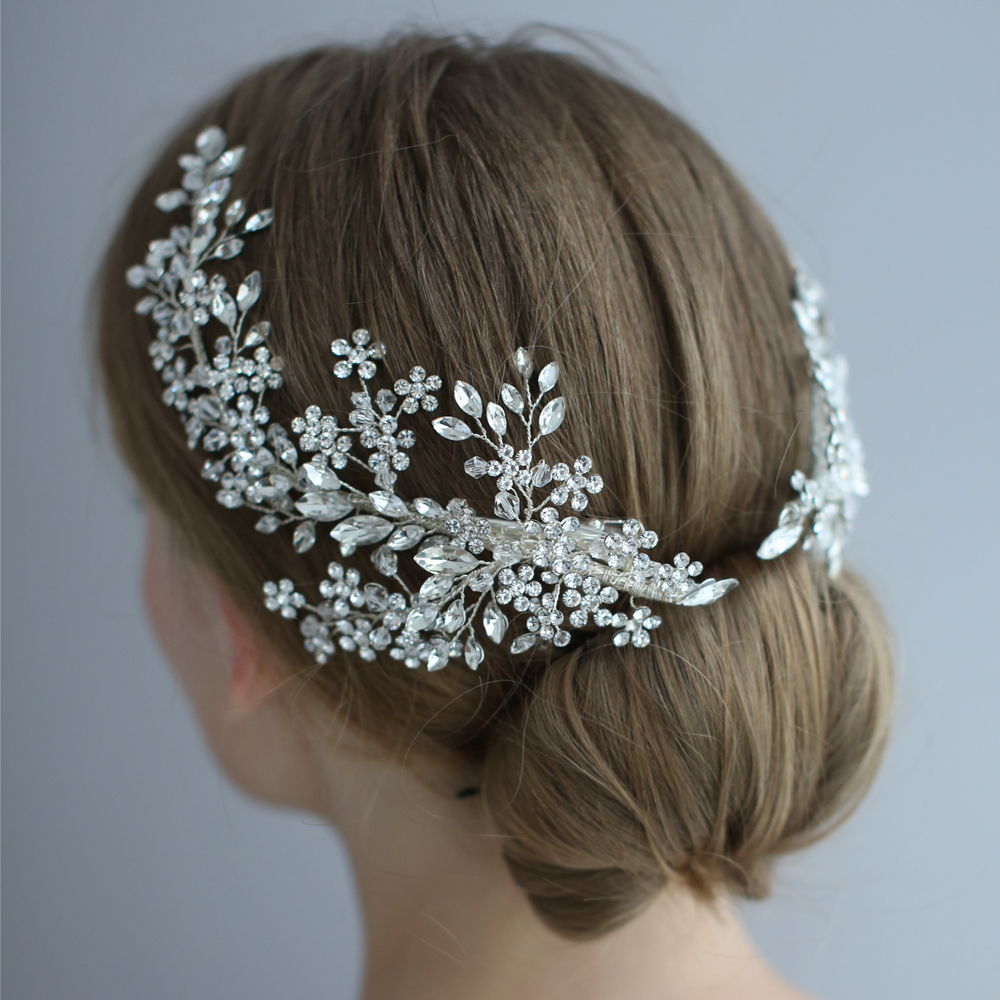 Image 2 - Luxury Crystal Bridal Headpiece Barrettes Hair Clips Vine  Rhinestone Floral Wedding Hair Accessories Brides Hair Jewelry 2019Hair  Jewelry