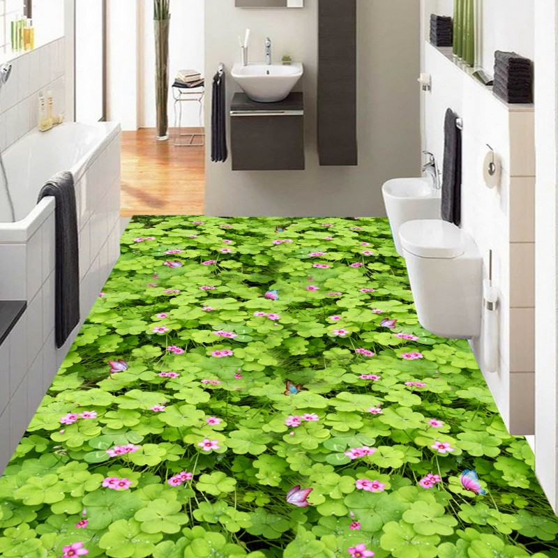 купить Free Shipping custom Grassland Flowers 3D floor decoration painting mall hall bathroom flooring Self-adhesive wallpaper mural по цене 6953.13 рублей