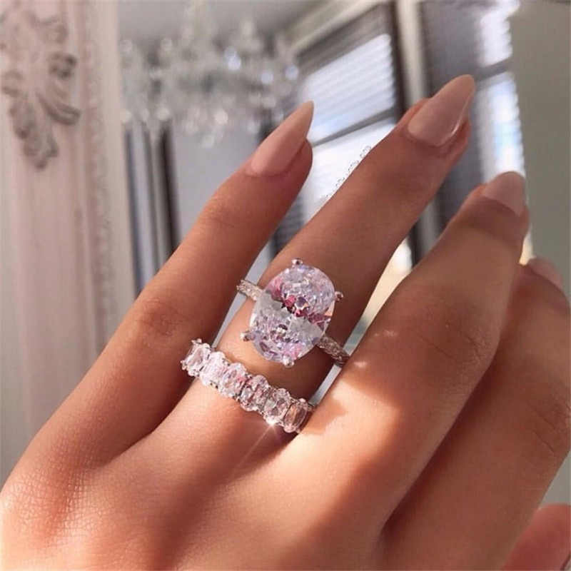 choucong Promise Ring set Oval cut 5A Zircon Stone 925 Sterling Silver Engagement Wedding Band Rings for women Finger Jewelry