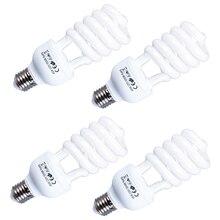 4 조각 E27 LED 비디오 라이트 220V 5500K 45W 사진 스튜디오 전구 비디오 일광 라이트 램프 사진 조명