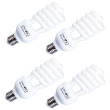 4 adet E27 LED Video işığı 220V 5500K 45W fotoğraf stüdyosu ampul Video günışığı işığı lambası fotoğraf aydınlatma