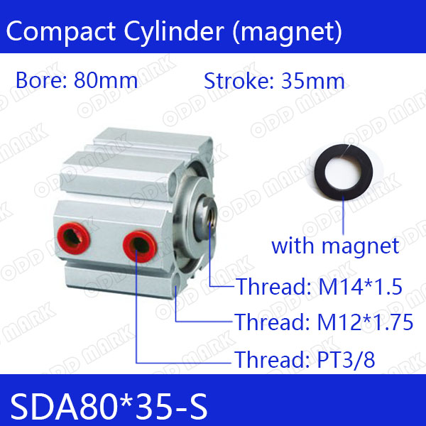 SDA80*35-S Free shipping 80mm Bore 35mm Stroke Compact Air Cylinders SDA80X35-S Dual Action Air Pneumatic Cylinder