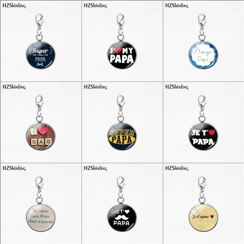 2019 New Je t'aime Papa Stainless Steel Charms Fathers Gifts Super Papa I Love Dad Pendant Jewelry Glass Pendants