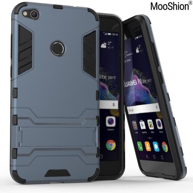 Mooshion De Luxe Hybride cas Pour Huawei P8 lite 2017 Dur avec stand Armure housse de protection téléphone shell pour Huawei honor 8 lite