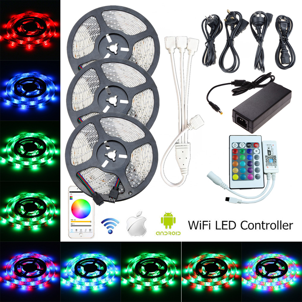 size 40 1b4d8 54aa9 US $34.54 45% OFF|15m LED Rope Light SMD 2835 WiFi LED Strip Waterproof 12V  RGB Strip Light 60leds/m Flexible Tape WiFi RGB Controller EU Adapter-in ...