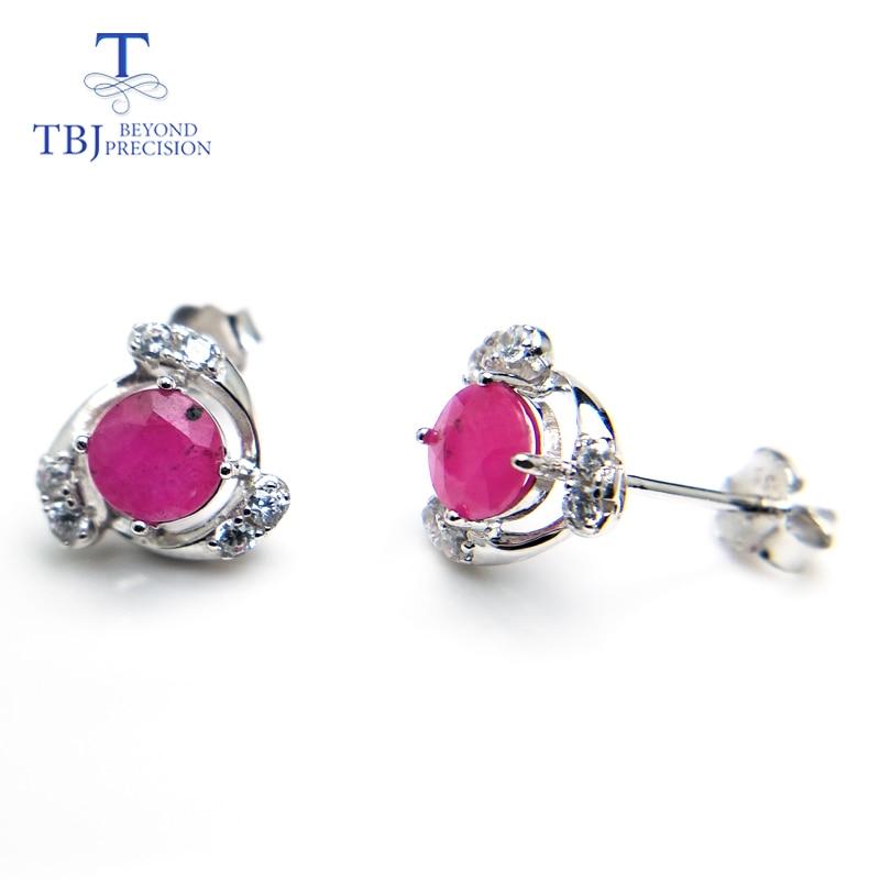 все цены на TBJ,Noble elegant 925 silver earring with natural ruby gemstone round cut gemstone earring for women romantic gift for girl онлайн