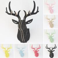Natuur 3D Houten elanden Herten hoofd muur Decor DIY Dier Wildlife Sculptuur Beeldjes Gift Ambachten Opknoping Puzzel Model Decoratie 35