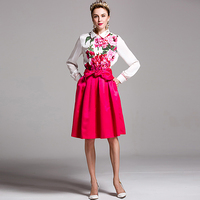 Milan Catwalk New Runway High Quality 2018 Spring Women'S Party Peony Flowers Shirt Fashion Long Sleeve Top Plus Size Blouse