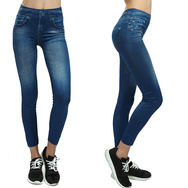 Fashion Slim Sexy Workout   Leggings   Women Plus Size 3D Print Casual Pants High Waist Skinny Pencil Faux Denim Jeans   Legging