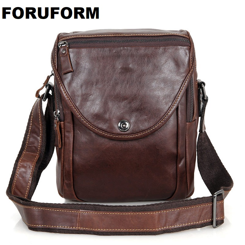 ForUForM 2018 New Brand 100% Genuine Leather Men messenger Bag Vintage Cowhide Crossbody Bags for man bolso mens bags LI-1580 low price top quality hot selling 2017 new style black suede leather cross tied super high thick heels fashion for women sandals
