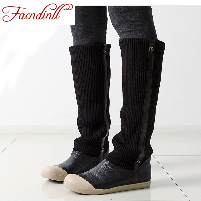 FACNDINLL winter warm faux fur women knee high boots real leather wool fashion female flat heel casual boots ladies black boots black women boots flat heel casual