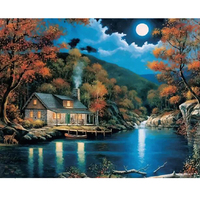 Digital Oil Painting By Numbers Landscape Wall Decor Picture On Canvas River Moon Oil Paint Coloring