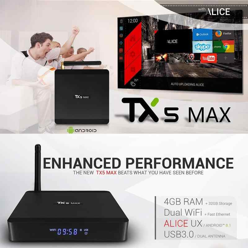 TX5 Max Smart TIVI Box Bluetooth Android 8.1 Amlogic S905X2 Quad-Core 1000G M 2.4G & 5G dual Wifi Set-Top Box 4K HD đa Phương Tiện