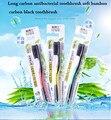 De carbono a largo antibacteriano cepillo de dientes suave de bambú cepillo de dientes de carbón negro 1 lote = 5 UNIDS