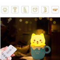 New Cute Cat Remote Control LED Cartoon Dog Night Light Baby Bedroom Desk Lamp Gift Glow
