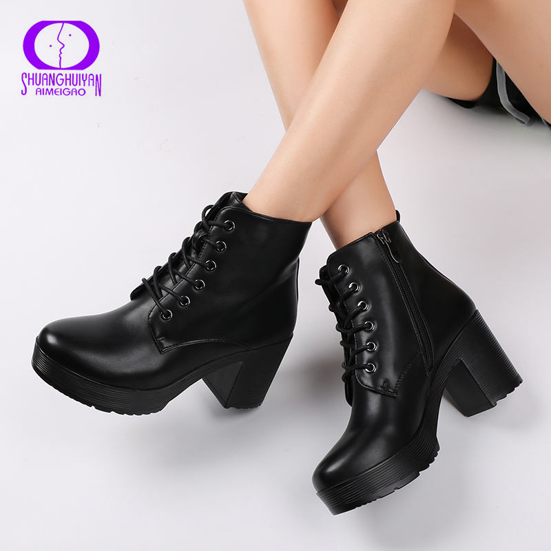 AIMEIGAO Platform Heels Women Ankle Boots Soft Leather Thick high Heel Platform Boots Winter Autumn Boots Warm Fur Big Size