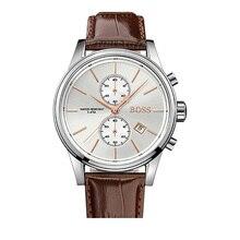 BOSS Quartz Wristwatch Mens Classic Design Chronograph Watch with Men Brown Leather Strap Luxury - 1513280