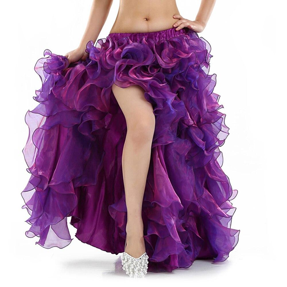 12 colores Ropa de baile Ropa de danza del vientre profesional Faldas largas largas Faldas de una división dividida Falda de danza del vientre oriental