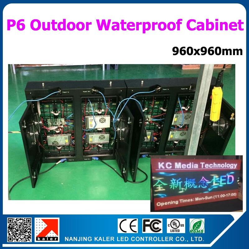 Tipi 0.96x0.96 m écran vidéo LED extérieur P6mm 160x160 pixel armoire étanche pour mur vidéo LED extérieur