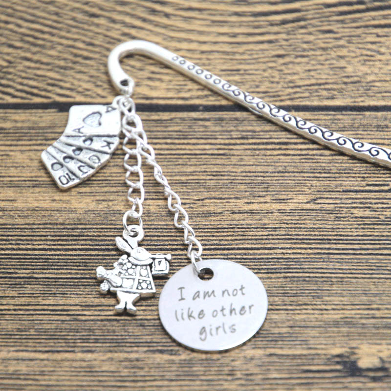 12pcs/lot Alice in Wonderland Inspired bookmark I am not like other girls Silver tone crystals