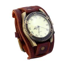 цена на Vintage Roman Numerals Gear Faux Leather Band Men Wrist Bracelet Quartz Watch jam tangan pria zegarki meskie