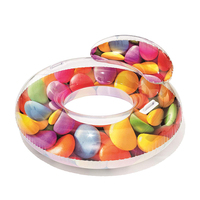 Inflatable Candy Donuts Swimming Ring Swim Circle with Backrest Pool Toys Children Adult Summer Pool Floats Party Swimming Toys