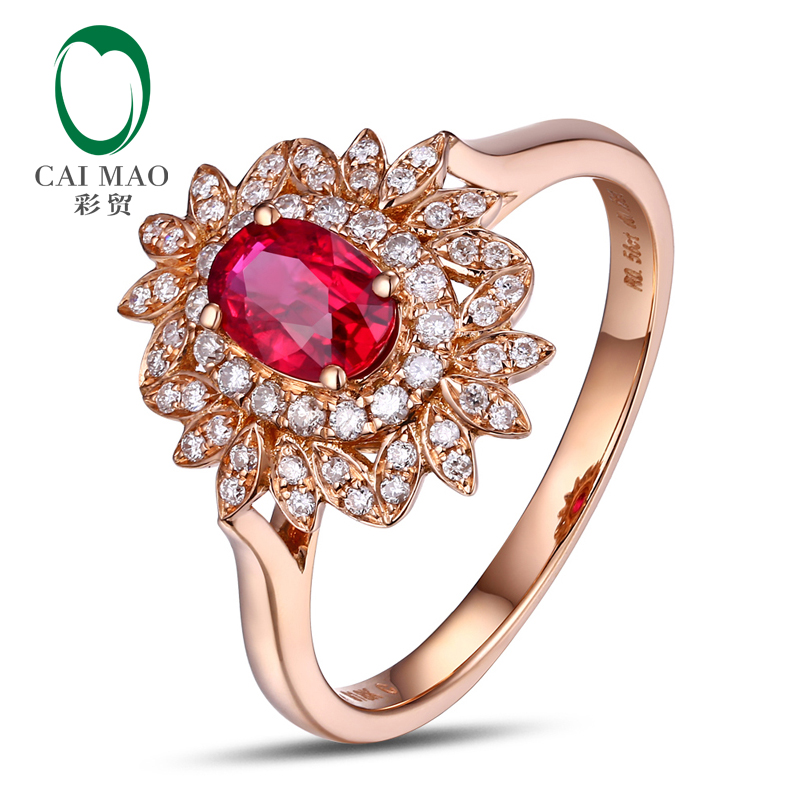 CaiMao 14KT/580 Rose Gold 0.59 ct Red Ruby & 0.23ct Round Cut Diamond Engagement Gemstone Ring Jewelry