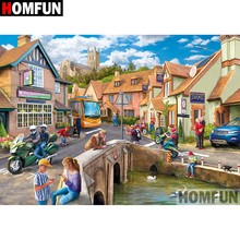 HOMFUN 5D DIY Diamond Painting Full Square/Round Drill Town scenery 3D Embroidery Cross Stitch gift Home Decor Gift A08213 homfun 5d diy diamond painting full square round drill house scenery embroidery cross stitch gift home decor gift a08417