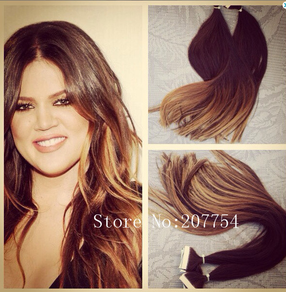 New Brown Ombre Hair Extension 40 Pcs100g Straight New Invisible