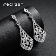 Mecresh Rhinestone Statement Bridal Drop Earrings Wedding Jewelry Crystal Long Women Silver Gold Rose Color EH1422
