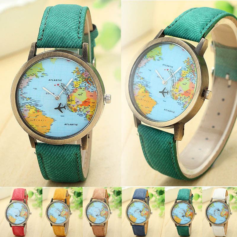 Fashion women dress watch global travel by plane map denim fabric band watches hour clock wrist