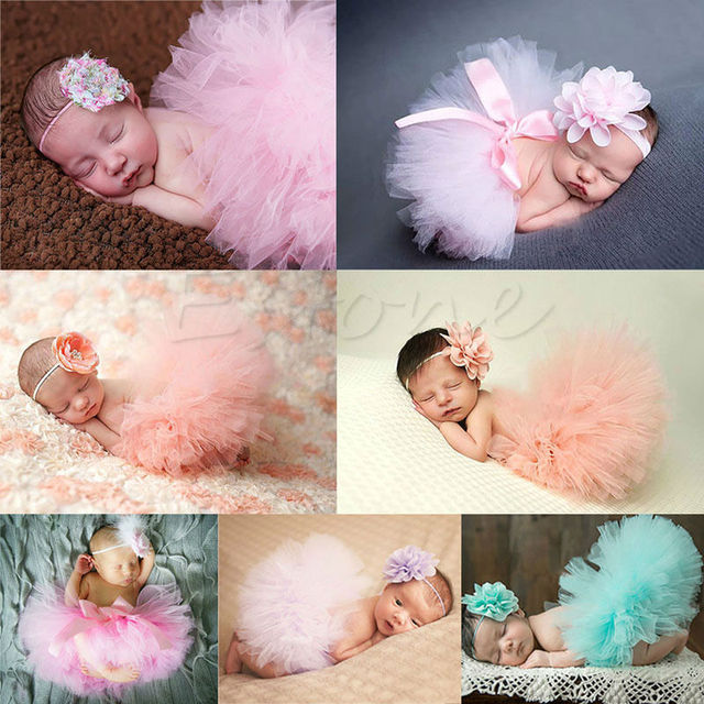 Lindo niño recién nacido bebé niña tutú falda y Diadema foto Prop traje