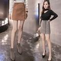 Outono lace up suede couro das mulheres saia 90's de bolso Do Vintage formal de Inverno saia curta saia de cintura alta saias casual Plus Size LQ47