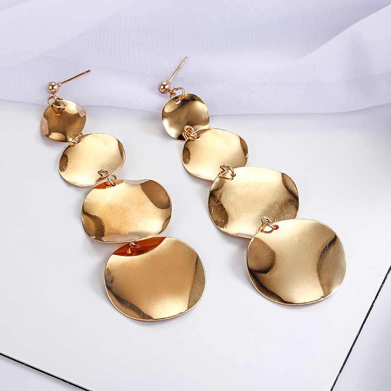 נשים אלגנטי פאנק עיצוב Drop עגילי זהב כסף ColorShiny עגול מטבע חתיכות מתנדנד עגיל תכשיטים A33