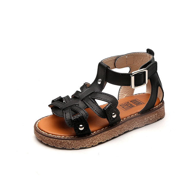 MSMAX Children Shoes Gladiator Flats Buckle Strap Cut-Outs Girls Sandals Pu  Leather Kids Dress Causal Summer Beach Shoes 535850a1e0a4