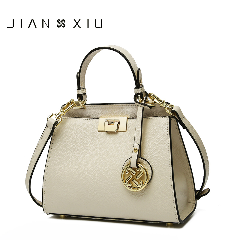 JIANXIU Brand Women Genuine Leather Handbags Famous Brands Handbag Messenger Bags Small Shoulder Bag Tassel Metal