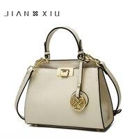 JIANXIU Brand Women Genuine Leather Handbags Famous Brands Handbag Messenger Bags Small Shoulder Bag Tassel Metal Lock Tote Bags