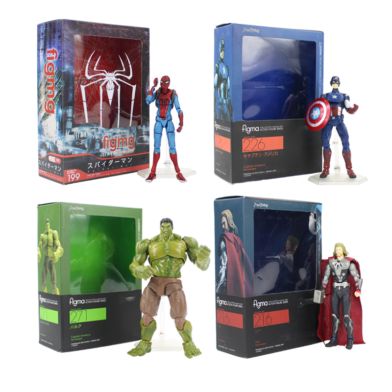 Marvel Infinity War Avengers Figma Spiderman 199 Captain America 226 Hulk 271 Thor 216 PVC Figure Model Collection Doll Toy Gift
