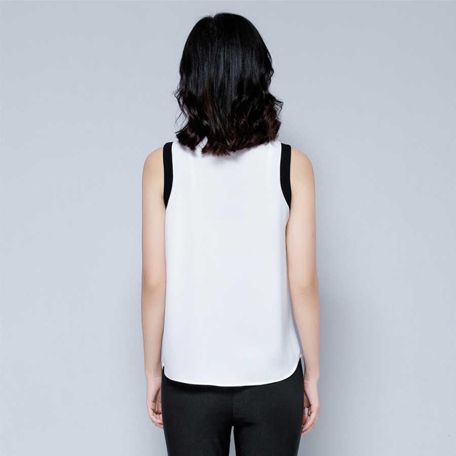 Чокер шифоновая блузка без рукавов офисная Лоскутная летняя рубашка Женская женственная Дамская блуза Blusas De Gasa Mujer укороченный топ 2018 D76E