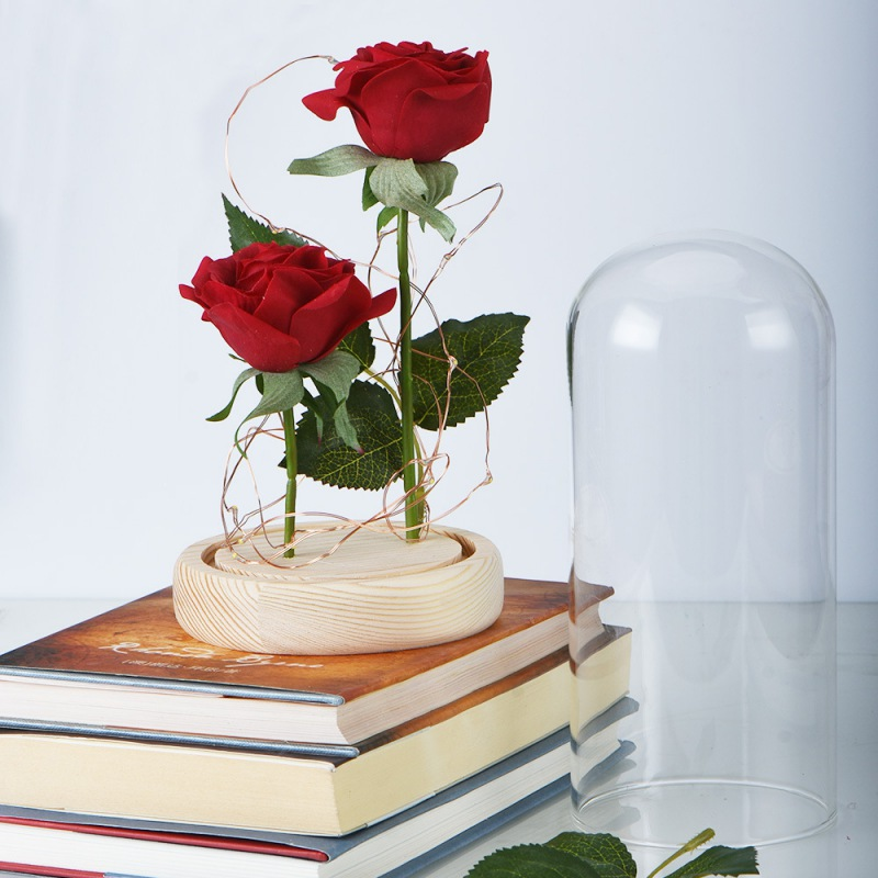 Red Rose Falling Petals Glass Dome Wooden Base for Christmas Valentine's Day Gifts|Novelty Lighting| |  - title=
