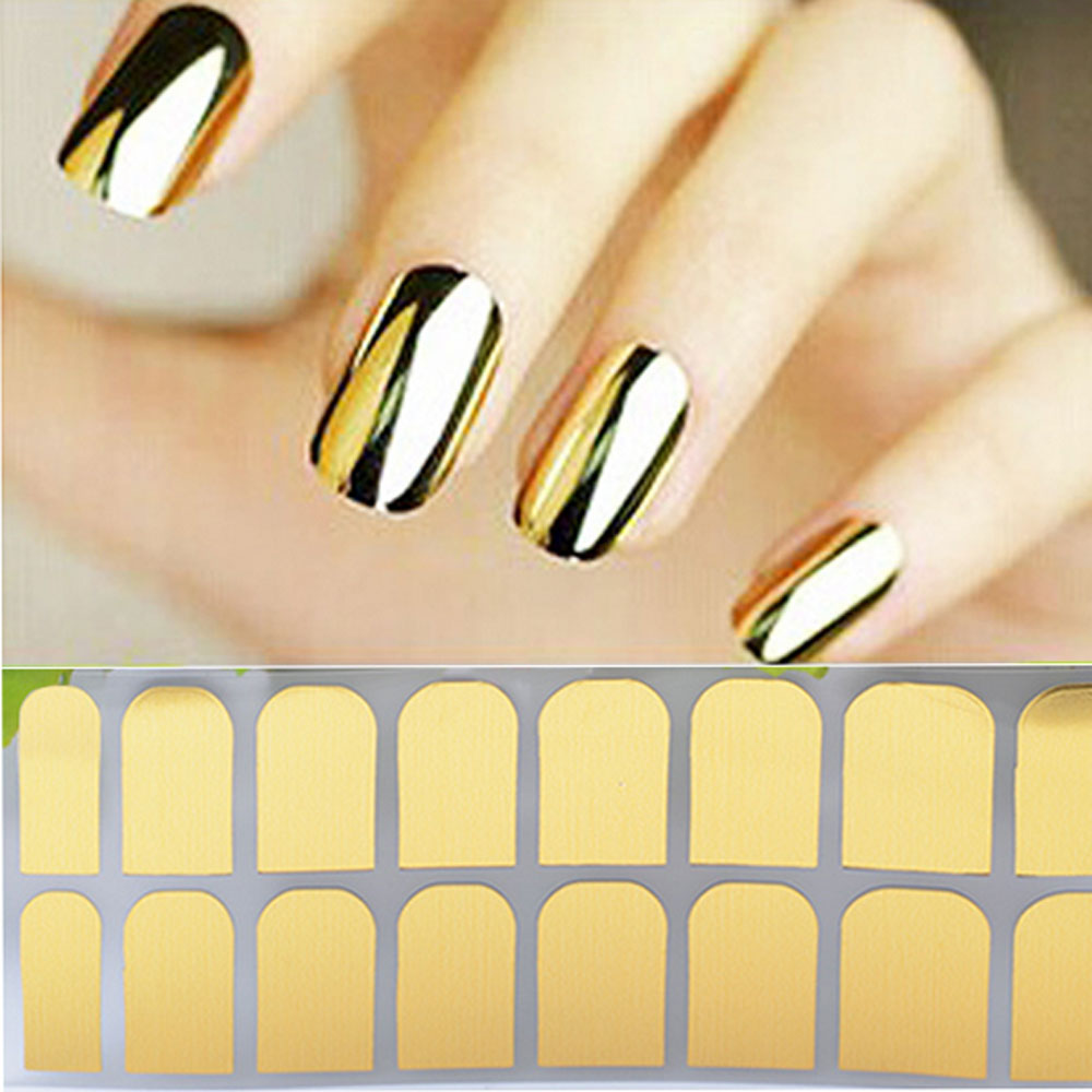 Aliexpress Buy Diy Nail Stickers Gold Silver Black Tri Color